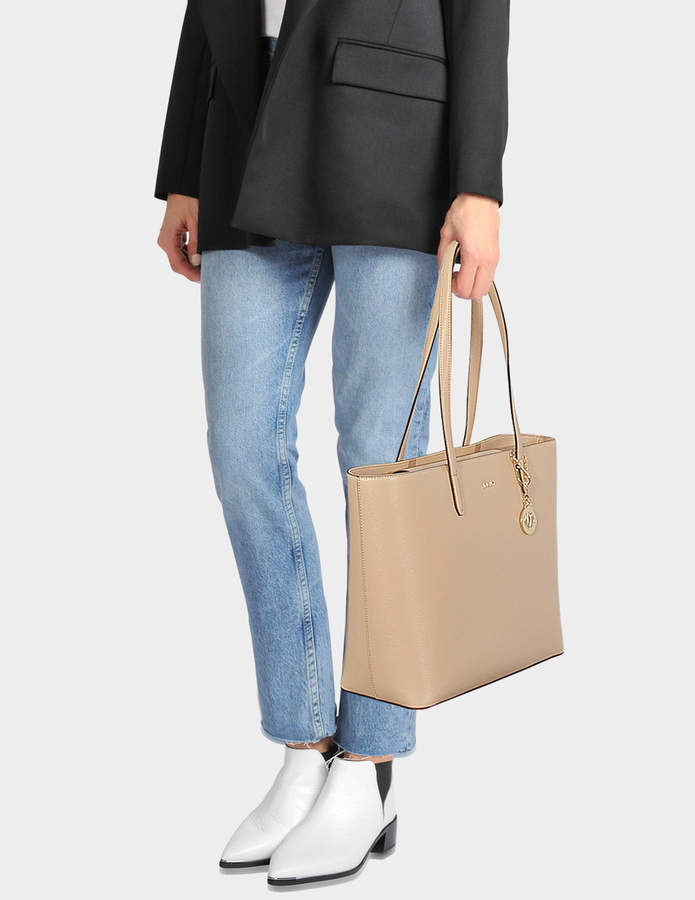 DKNY Bryant Large Tote Bag in Egg Nog Sutton Textured Leather