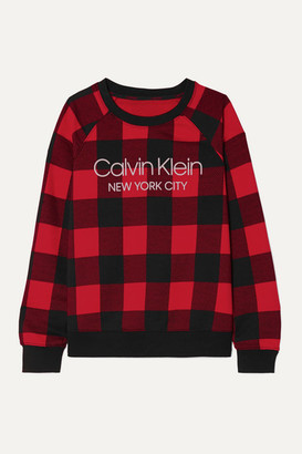 Calvin Klein Underwear Printed Checked Cotton-blend Jersey Sweatshirt - Red