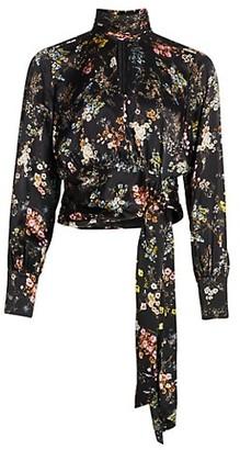Cinq à Sept Jaqueline Sakura Floral Silk Highneck Wrap Blouse