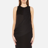 DKNY Women's Sleeveless Mixed Media Wrap Front Dress with Side Slits Black