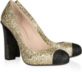Glitter and calf hair pumps