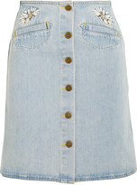 MiH Jeans Embroidered denim mini skirt