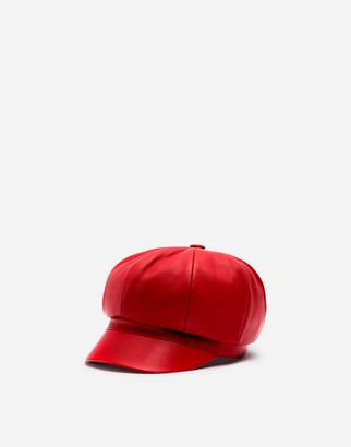 Dolce & Gabbana Leather Baker Boy Hat With Peak