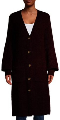 No Boundaries Juniors' Button Front Mossy Cardigan with Balloon Sleeves
