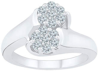 FINE JEWELRY Womens 1/2 CT. T.W. Genuine White Diamond 10K White Gold Flower Cluster Cocktail Ring