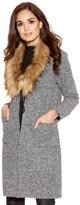 Quiz Grey Faux Fur Trim Long Cardigan