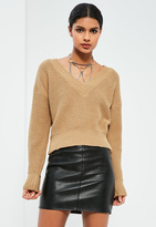 Missguided Nude Cropped Tennis Sweater