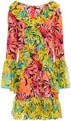 Michael Kors Collection Ruffled Georgette-paneled Floral-print Silk-chiffon Mini Dress