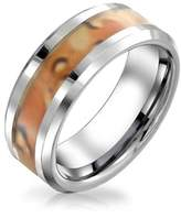 Bling Jewelry Unisex Tungsten Ring Camouflage Inlay Mens Band 8mm.