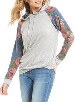 Moa Moa Colorblock Floral Printed Hoodie Sweatshirt