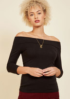 ModCloth Cafe Parfait Top in Noir - 3/4 Sleeves in 3X