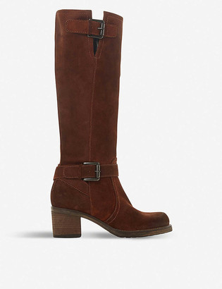 Dune Tansey faux fur-lined knee-high suede boots