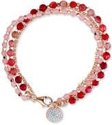 Unwritten Rose Quartz (3-1/2mm) & Agate (4mm) Bead Charm Bracelet in Rose Gold-Tone Silver-Plate