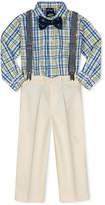 Nautica 4-Pc. Plaid Shirt, Pants, Bowtie & Suspenders Set, Baby Boys