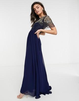 Virgos Lounge Raina embellished maxi dress in navy