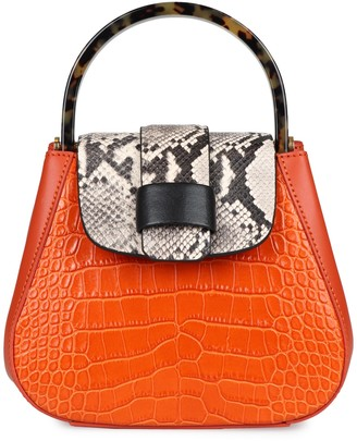 Nico Giani Myria Croco Print Leather Handbag