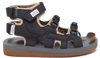 Suicoke Boak-v Three-strap Suede Sandals - Navy
