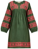 Muzungu Sisters - Taj Floral-embroidered Cotton Kaftan - Womens - Green Multi