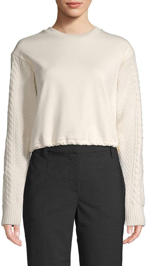 3.1 Phillip Lim Knitted-Sleeve Cotton Sweater