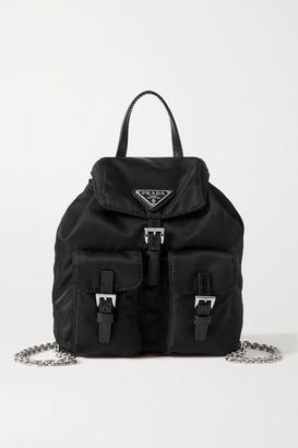 Prada Vela Leather-trimmed Nylon Backpack - Black