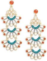 Nanette Lepore Embellished Fan Drop Earrings