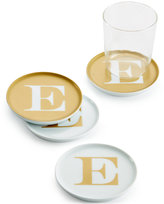 """The Cellar Gold Initial Coasters Collection Porcelain Set of 4 Initial """"E"""" Coasters"""