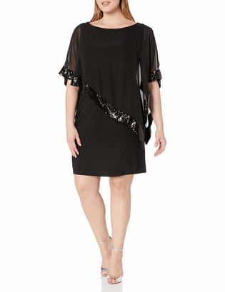 Xscape Evenings Women's Plus-Size Short ITY Dress with Sequin Trim Chiffon Overlay