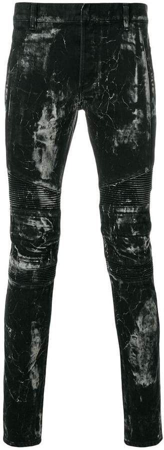 Balmain painted look biker jeans