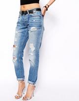 Asos Brady Low Rise Slim Boyfriend Jeans in Mid Wash Blue With Rips - Blue