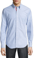 Thom Browne Long-Sleeve Cotton Oxford Shirt, Blue