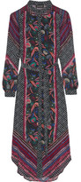 Saloni Molly Printed Silk Dress - Black