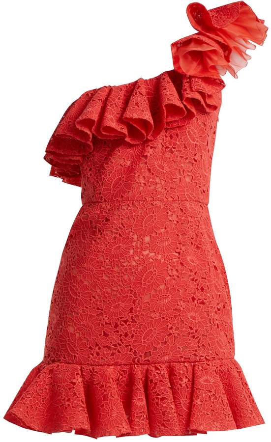 Giambattista Valli One-shoulder ruffled lace mini dress