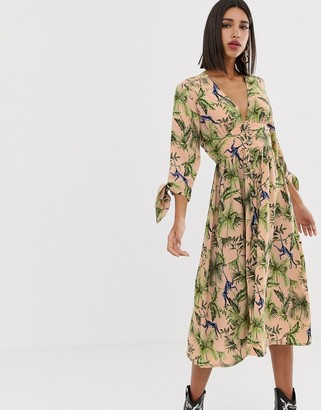 Neon Rose maxi tea dress with button front in jungle print