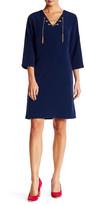 Chetta B 3/4 Length Sleeve Lace Up Midi Dress