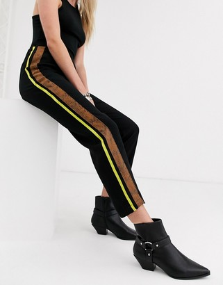 Religion relaxed pants with contrast side stripe-Black