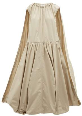 J.W.Anderson Cape-panel Bubble-hem Cotton Dress - Womens - Beige