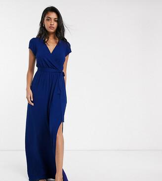 Asos Tall DESIGN Tall tie waist wrap front maxi dress in navy-Blue