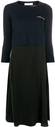 Fabiana Filippi sweater-panelled chiffon dress