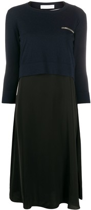 Fabiana Filippi Sweater-Panelled Chiffon Dress