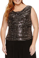 R & M Richards Sleeveless Sequin Evening Gown-Plus