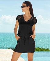 Calvin Klein Crochet-Shoulder Tunic Cover Up