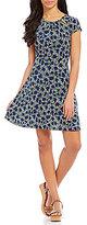MICHAEL Michael Kors Floral Print Cut-Out Shirred Neck Flare Dress
