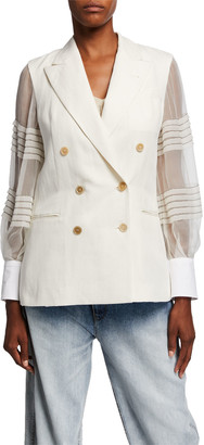 Brunello Cucinelli Sheer Sleeve Linen-Cotton Double-Breasted Blazer