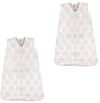 Hudson Baby Boy and Girl Jersey Cotton Sleeping Bag 2 Pack, Modern Flower, 0-6 Months