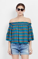 Nicole Miller Tropical Stripes Smocked Top