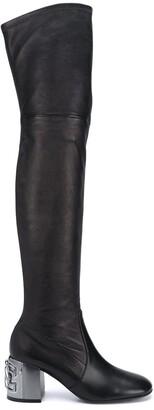 Casadei Metallic Heel Tall Boots