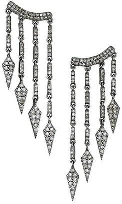 Nina Gilin 14K Yellow Gold, Sterling Silver & Champagne Diamond Chandelier Drop Earrings