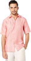Cubavera 100% Linen Short Sleeve Ombre Geo Embroidered Shirt