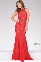 Jovani High Halter Neck Lace Prom Dress 42220