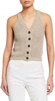 Brunello Cucinelli V-Neck Sequin Ribbed Button-Front Vest